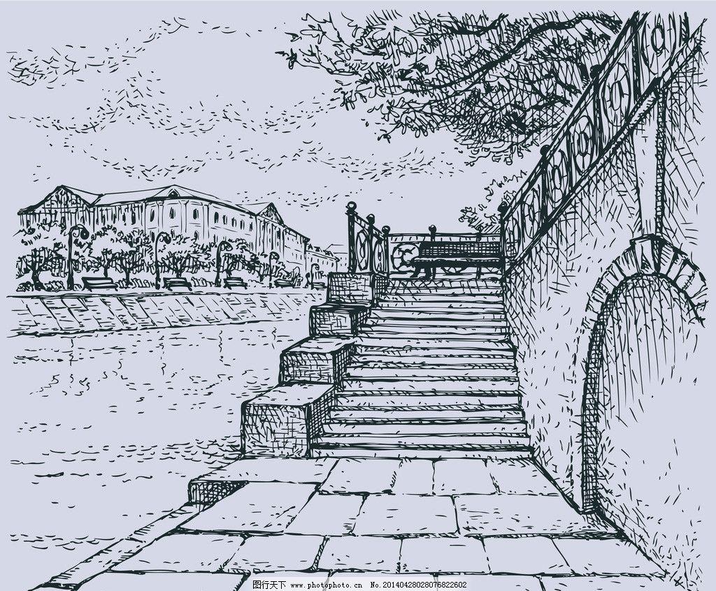 手绘桥梁 线描 绘画 手绘水影 绘画书法 文化艺术 城市建筑 建筑家居