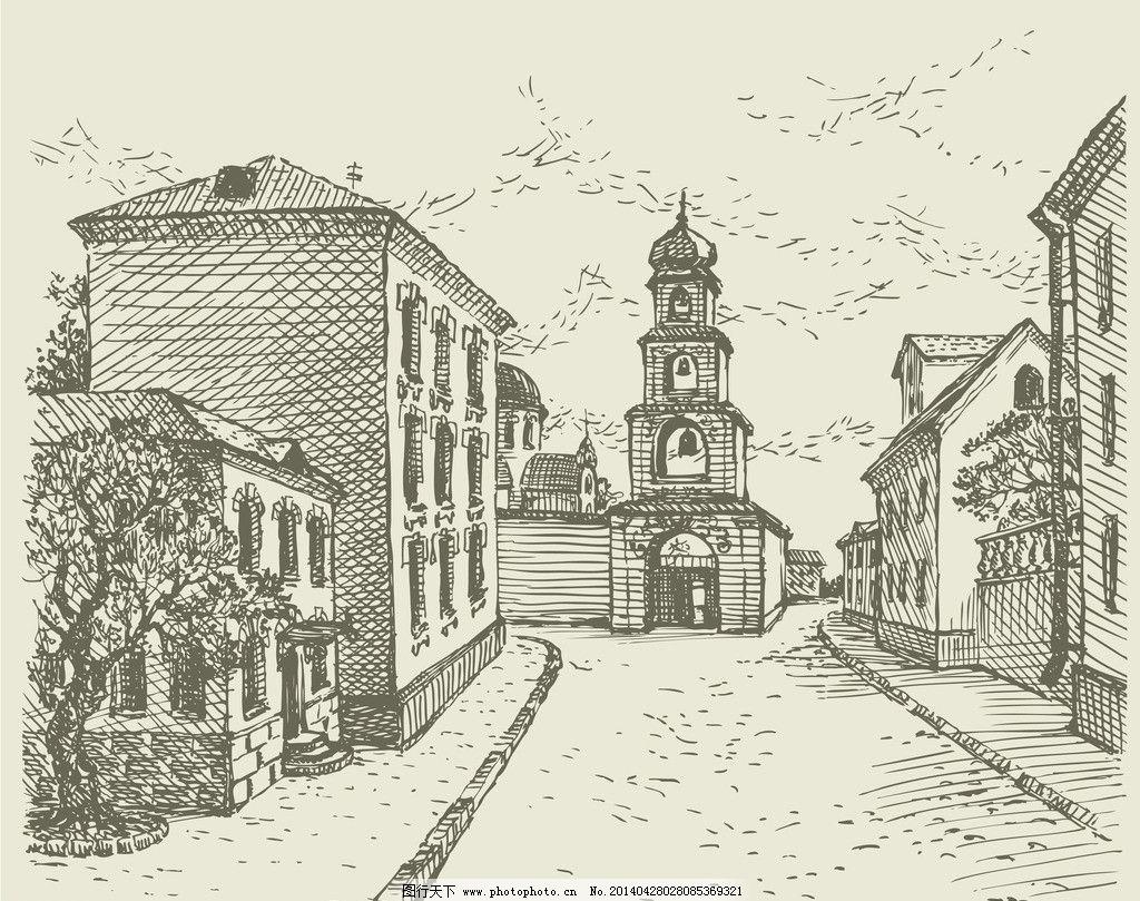 手绘建筑 欧洲建筑 素描