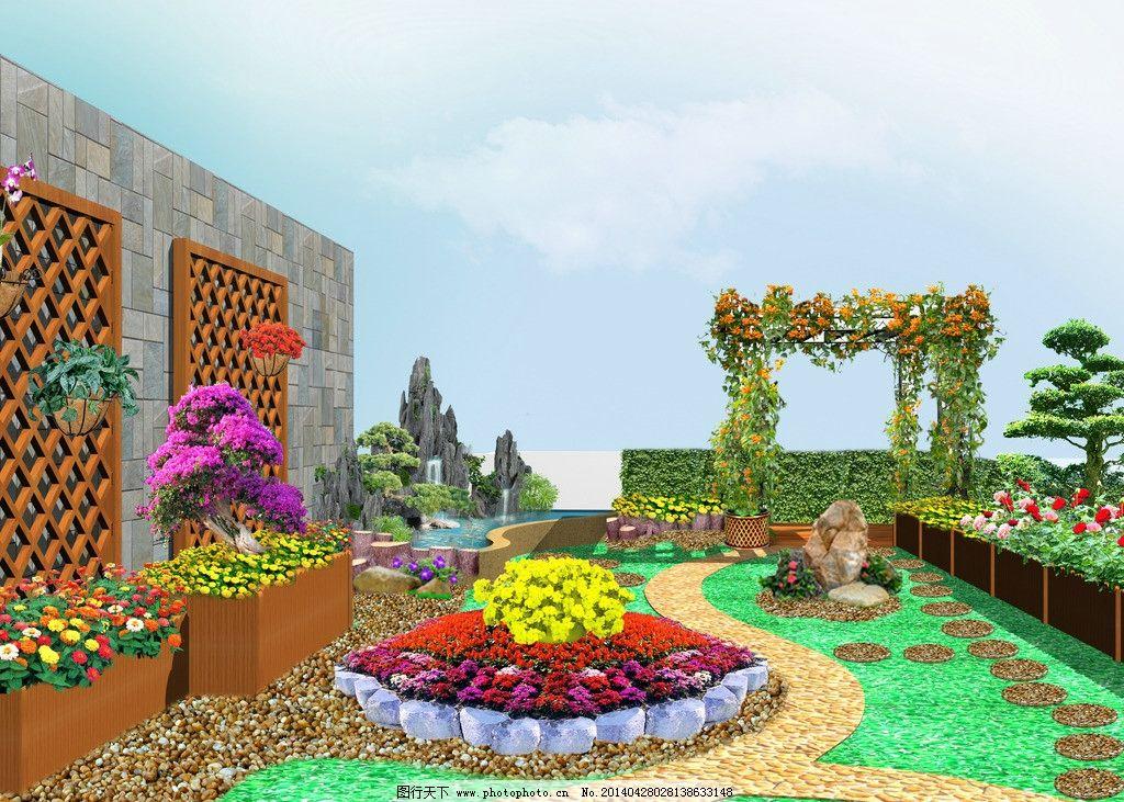 屋顶花园 花架 假山 水池 木篱花箱 花池 景观设计 环境设计 设计 72