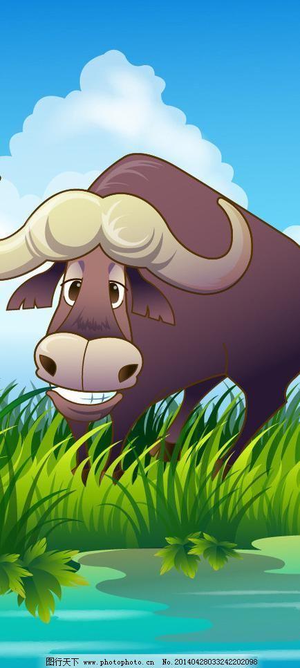 可爱动物绿色草丛水牛图片