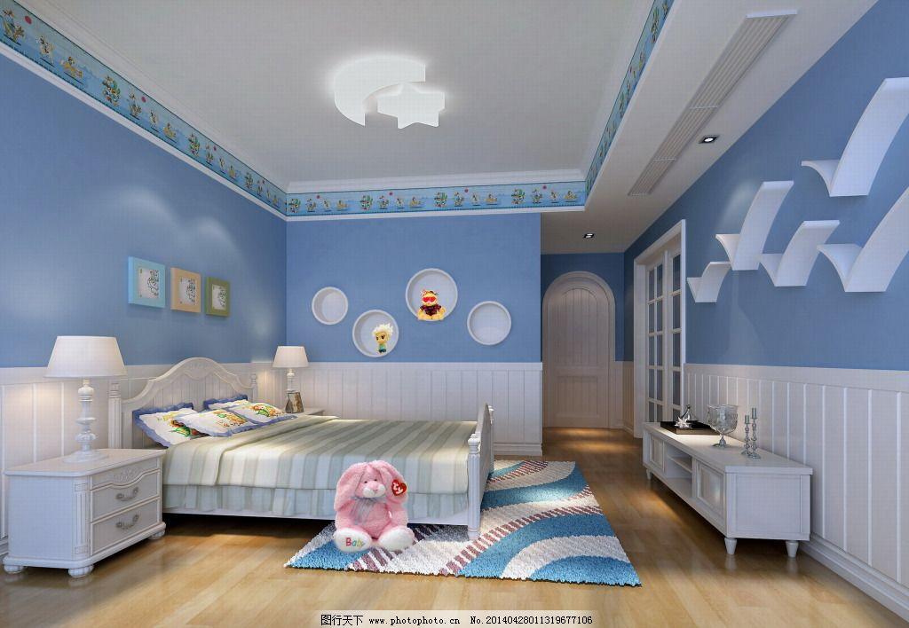 蓝色可爱卧室免费下载 儿童房 室内           儿童房 室内 家居装饰