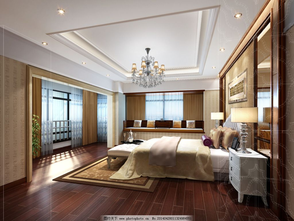 卧室效果图 卧室效果图免费下载 地板 室内 天花板 家居装饰素材