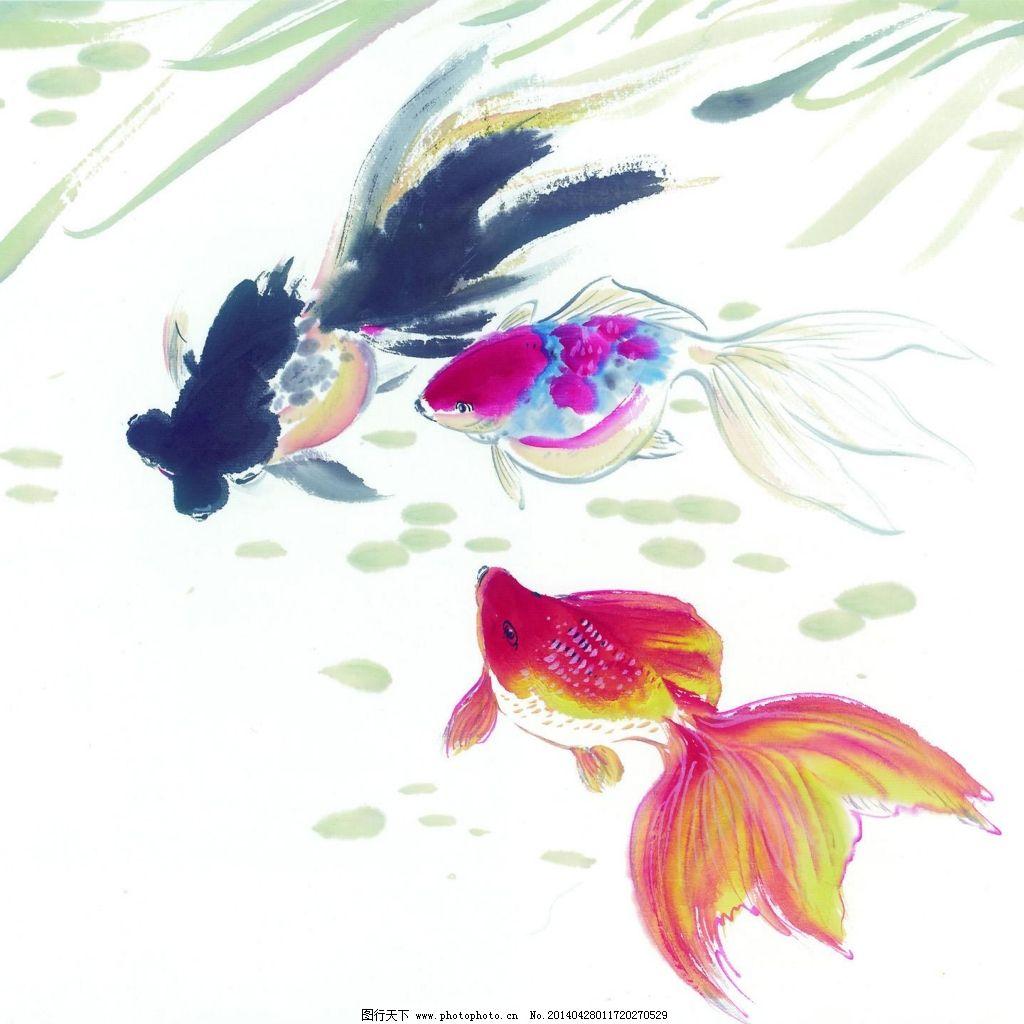 手绘油画树木金鱼