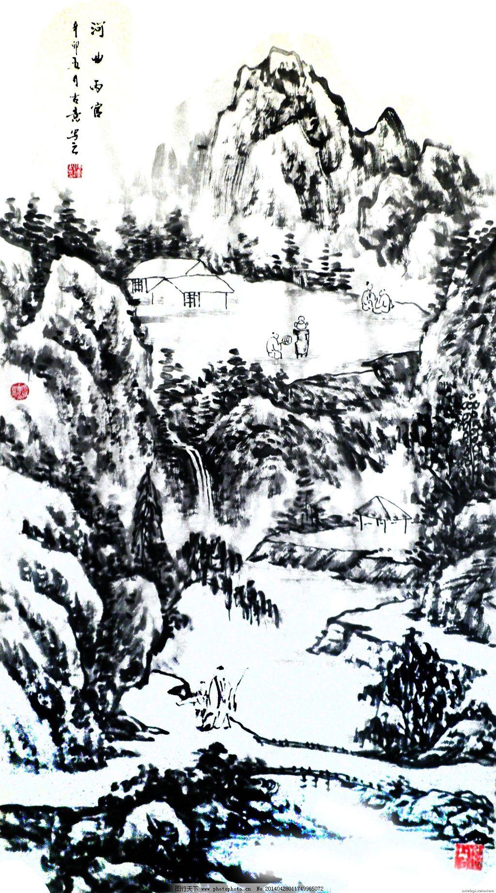黑白风景画_黑白山水_山水风景画_装饰素材_图行天下图库