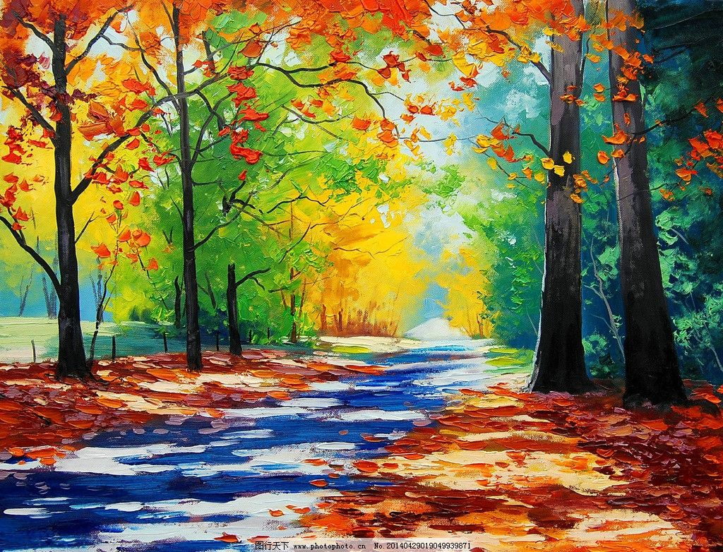 油画秋色 风景油画 秋色 枫树 落叶 小道 树林 秋景 装饰画 枫叶 绘画