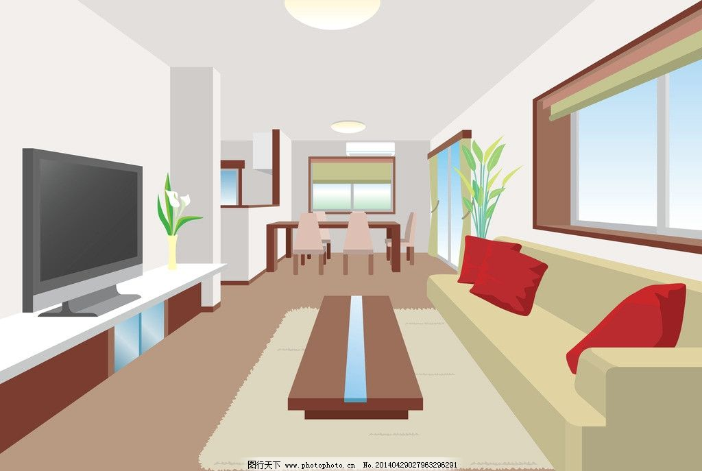 卡通客厅设计 卡通      沙发 电视 窗户 室内设计 茶几 桌子 手绘