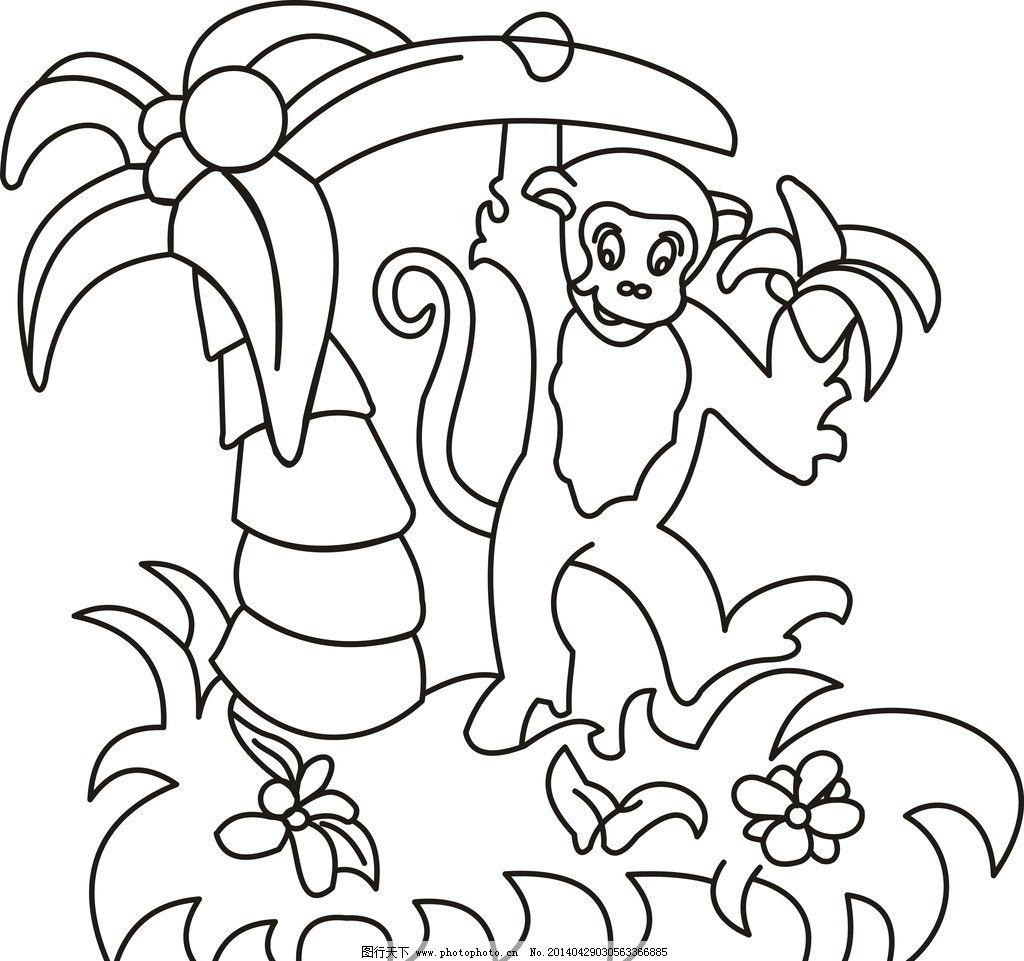 猴子上树 猴子 上树 矢量图 香蕉 香蕉树 猴子与香蕉树 动物简笔画