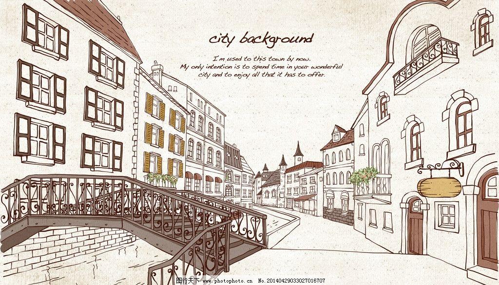卡通手绘 都市 手绘 城镇 手绘线条 城市 可爱插画 楼房 街景 桥 小河