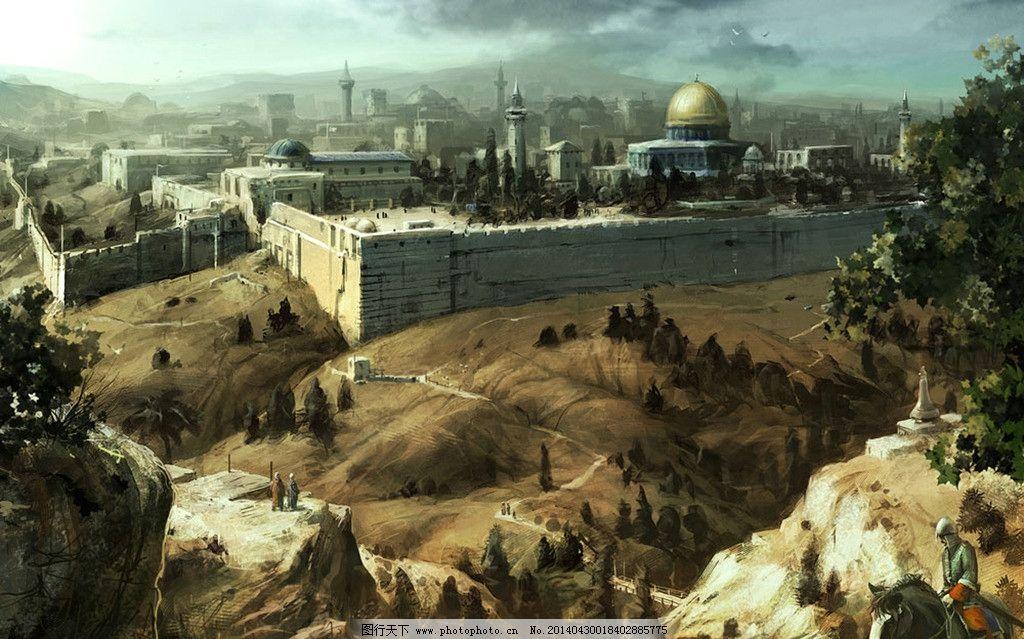 城堡战场原画 手绘图 图片素材 动漫动画