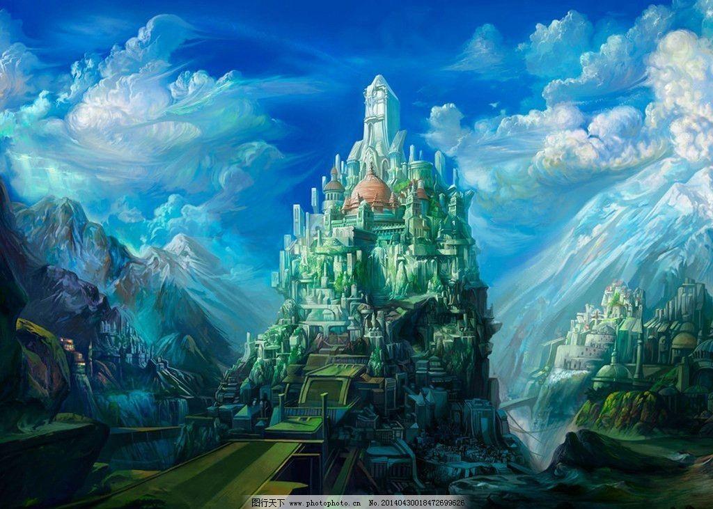 山中城堡原画 原画 手绘图 城堡 山 图片素材 风景漫画 动漫动画 设计