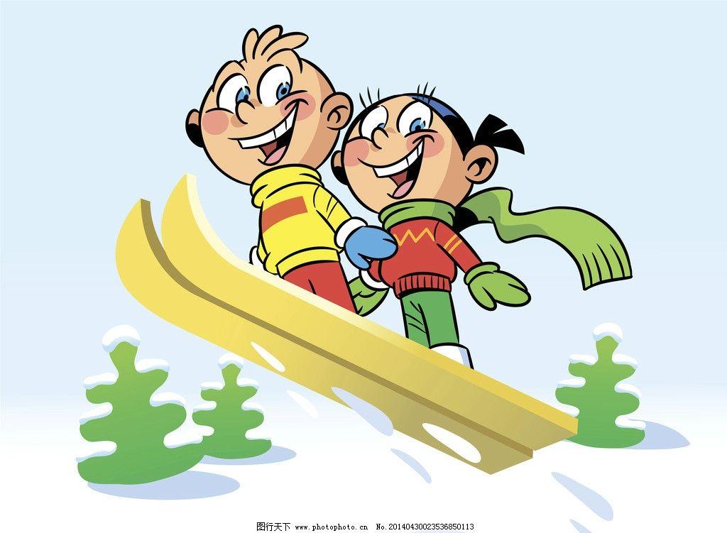 卡通儿童 卡通人物 女孩 小学生 小孩 卡通背景 滑雪 手绘 矢量