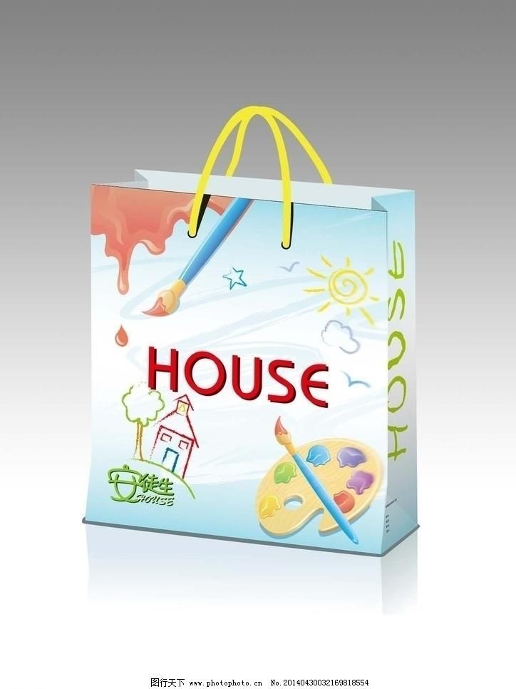 eps 包装设计 儿童服装 广告设计 画笔 卡通 手提袋 童装 手提袋 童装
