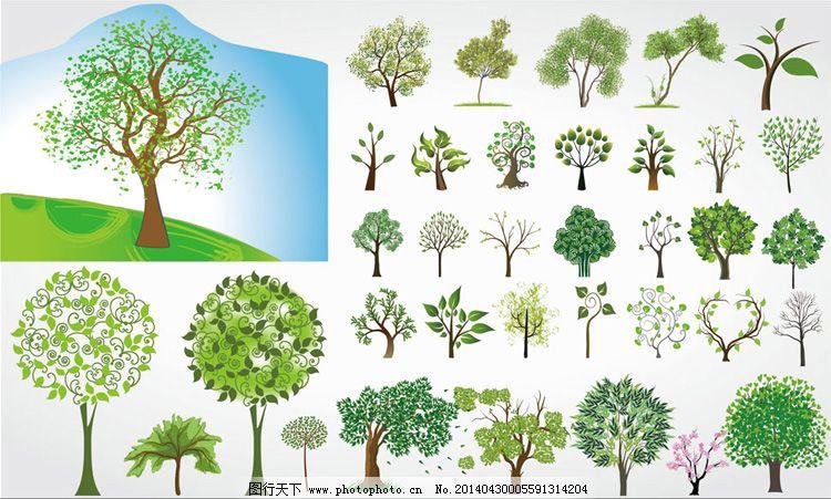 卡通 手绘 树 树木 树枝 花纹 树木 草地 树枝 树 手绘 卡通 矢量图