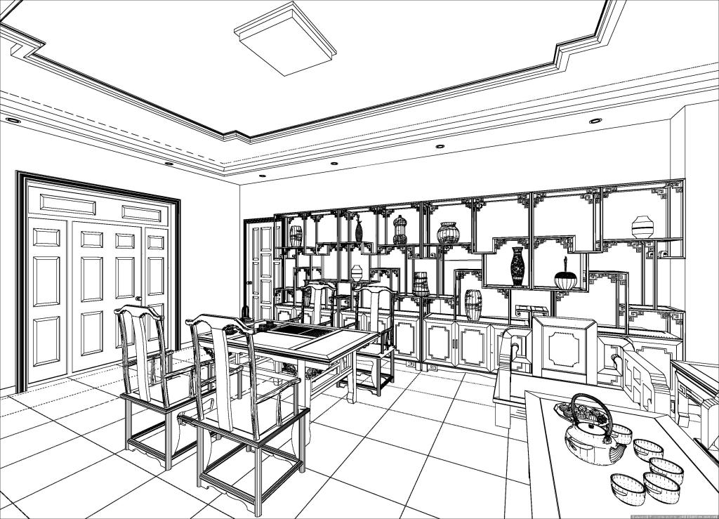中式室内线稿 中式室内线稿免费下载 室内装修设计 家居装饰素材