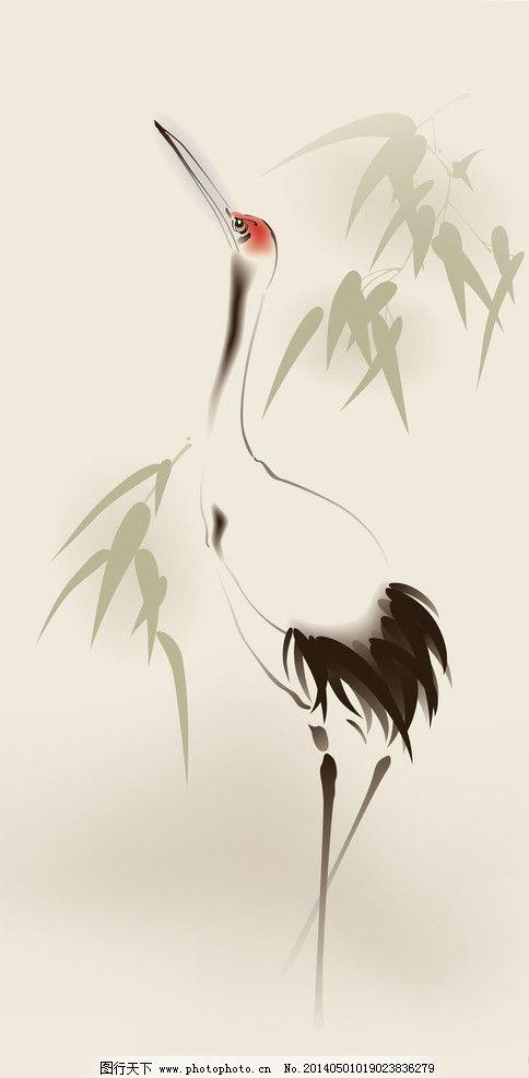 仙鹤 中国画 油墨画 鱼 国画 竹子 手绘 水墨画 书法 写意画 中国风
