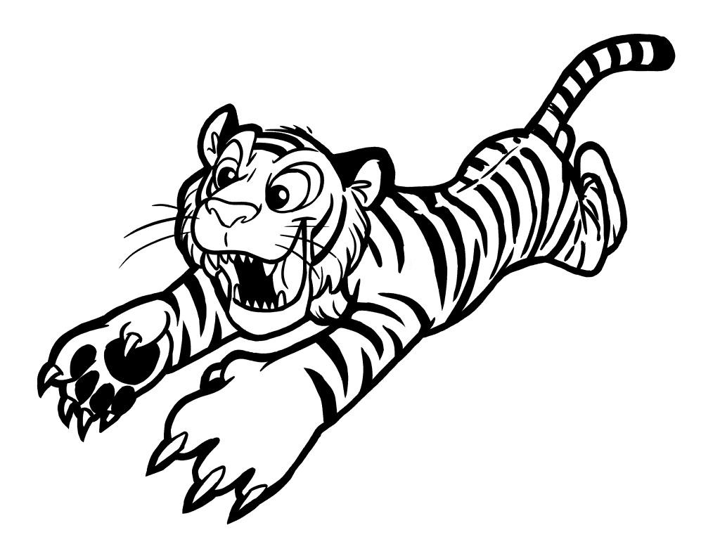 插画 动物 线描 小老虎 小老虎 飞扑 动物 线描 斑纹 插画 图片素材