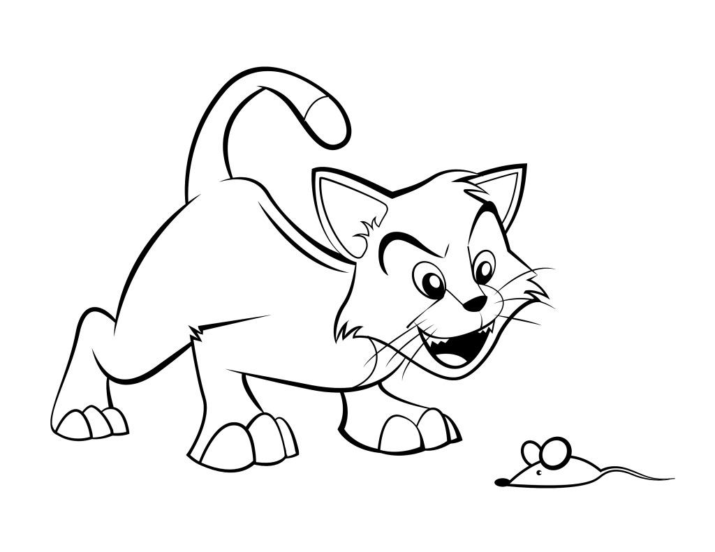 儿童插画小猫老鼠简笔画