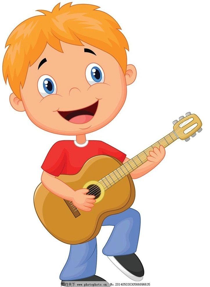 卡通儿童孩子小孩动漫 弹吉他 小学生 小男孩 小女孩 卡通孩子
