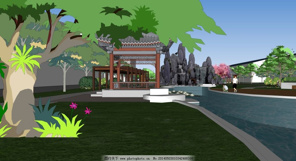 水景驳岸免费下载 景观设计