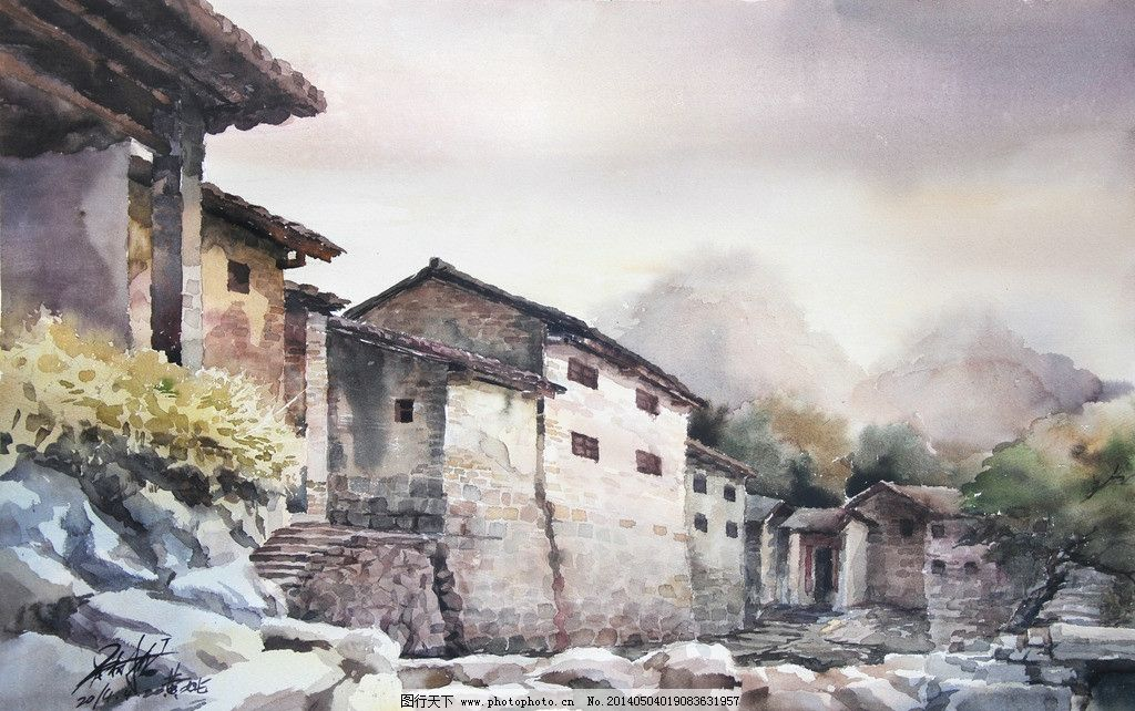 吴树龙水彩画 黄姚古镇写生 水彩写生 水彩风景 古镇 古建筑 文化艺术