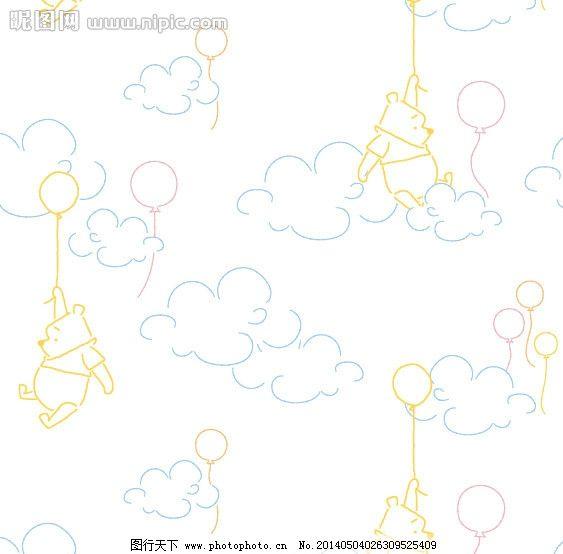 可爱底纹 维尼熊 线描 动物 熊 卡通 气球 云朵 白云 云 热气球 升空