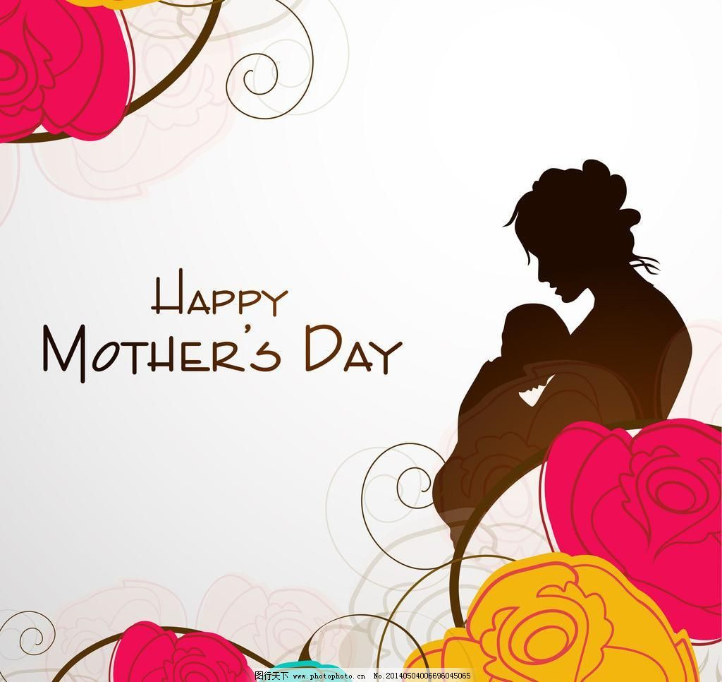 母亲节 节日 手绘 卡通 庆祝 母子 玫瑰花 人物剪影 母亲节海报 手写