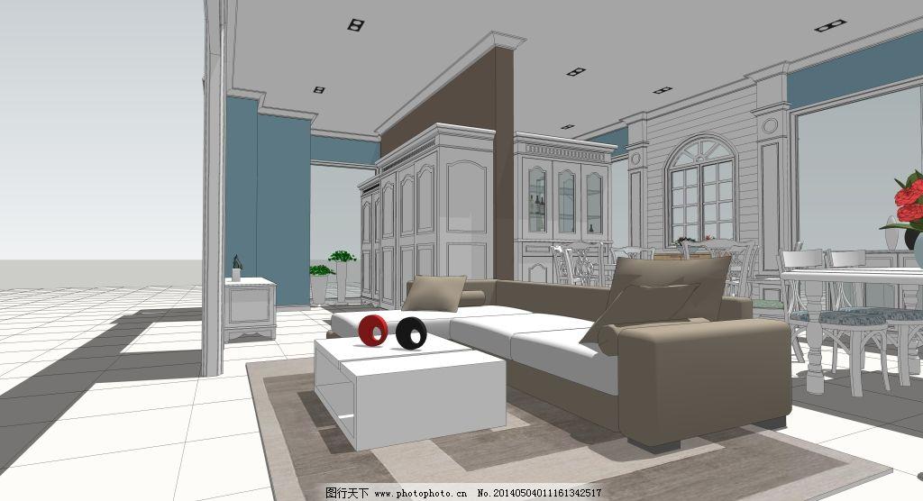 现代家具展厅透视