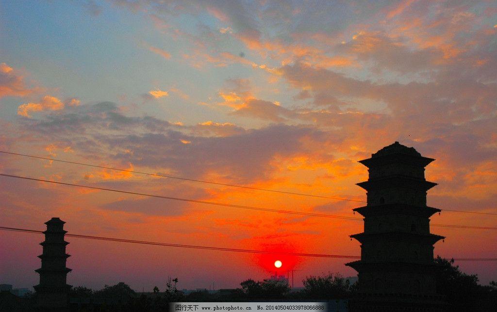 双塔 塔 建筑 古建筑 夜色