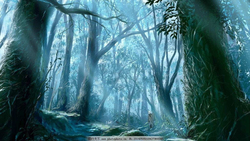 森林 树木 大树 古树 雨林 魔幻 深山老林 树藤 藤蔓 风景漫画 动漫动