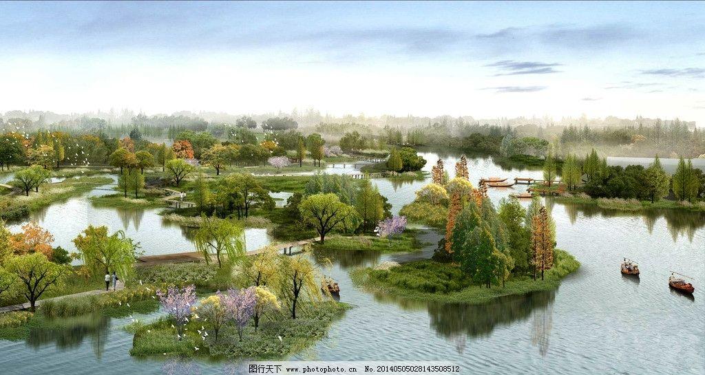 水上绿岛 水 绿岛 森林 景观设计 公园 环境设计 源文件 72dpi psd