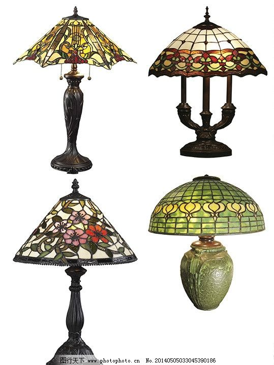 花纹灯罩 拼色灯罩 灯杆 欧式古典台灯 底座 浮雕灯杆 psd分层素材 源
