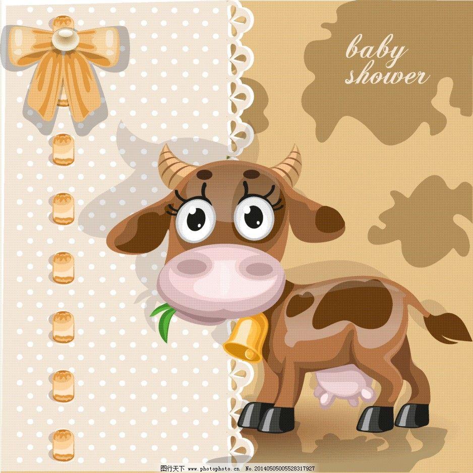 卡通动物牛矢量图免费下载 动物 卡片 卡通 牛 卡通 动物 矢量 牛 吃