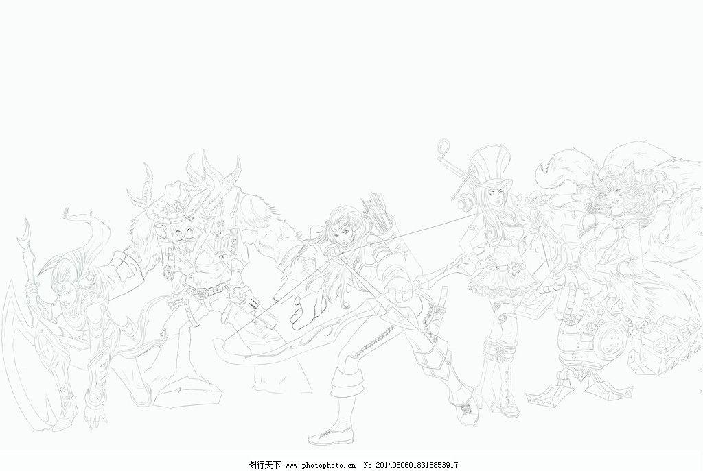 英雄联盟手绘线稿 英雄联盟 手绘 线稿 动漫 游戏 动漫人物 动漫动画