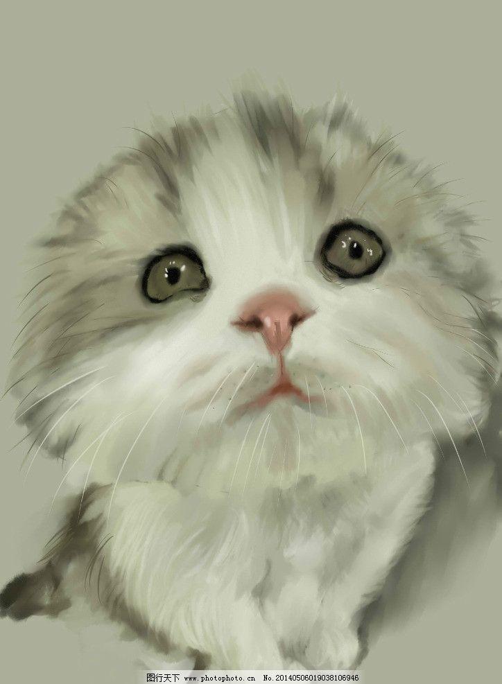 小猫咪 猫 手绘 厚涂 可爱 萌 绘画书法 文化艺术 设计 256dpi jpg