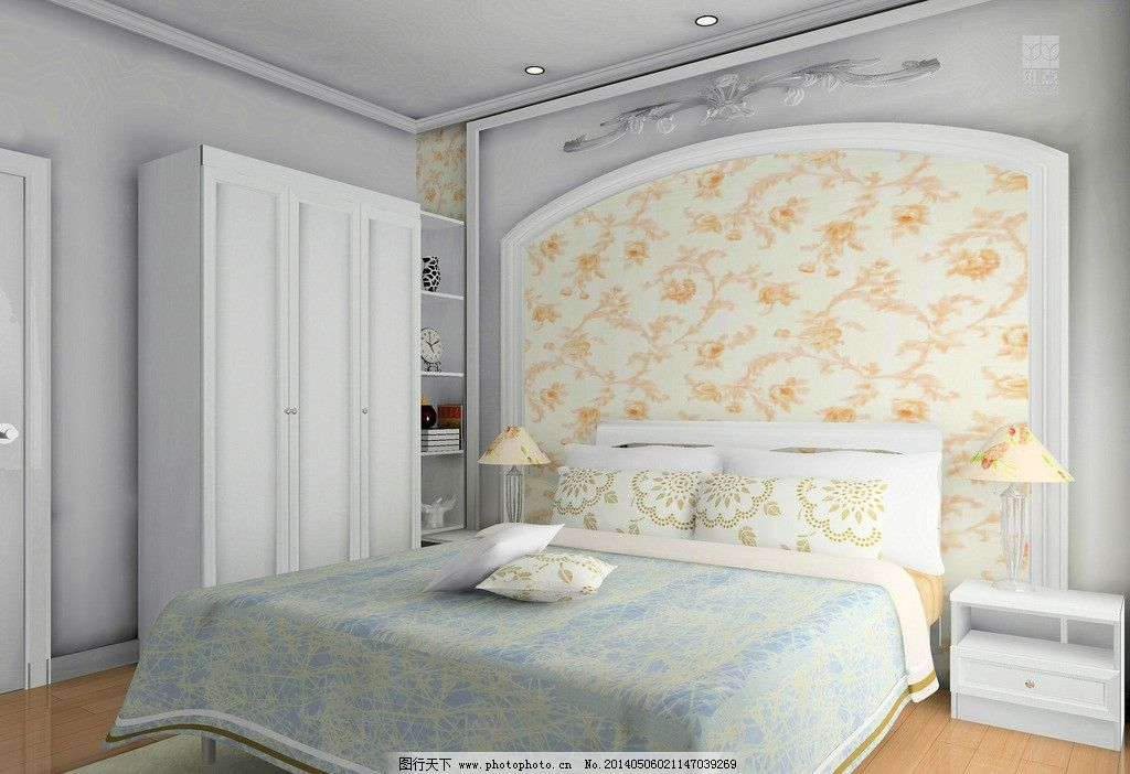 室内设计 次卧 床 床头柜 床头背景 衣柜 展示柜 3d家装中式效果图