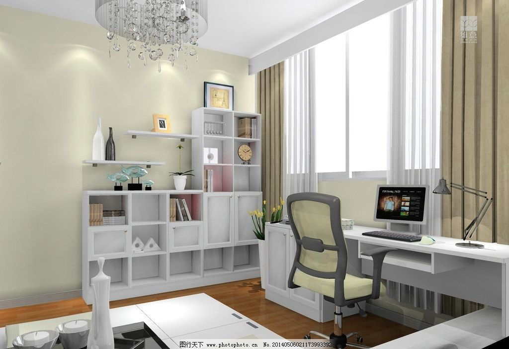室内设计 书房 书柜 榻榻米 书桌 座椅 吊灯 吊板