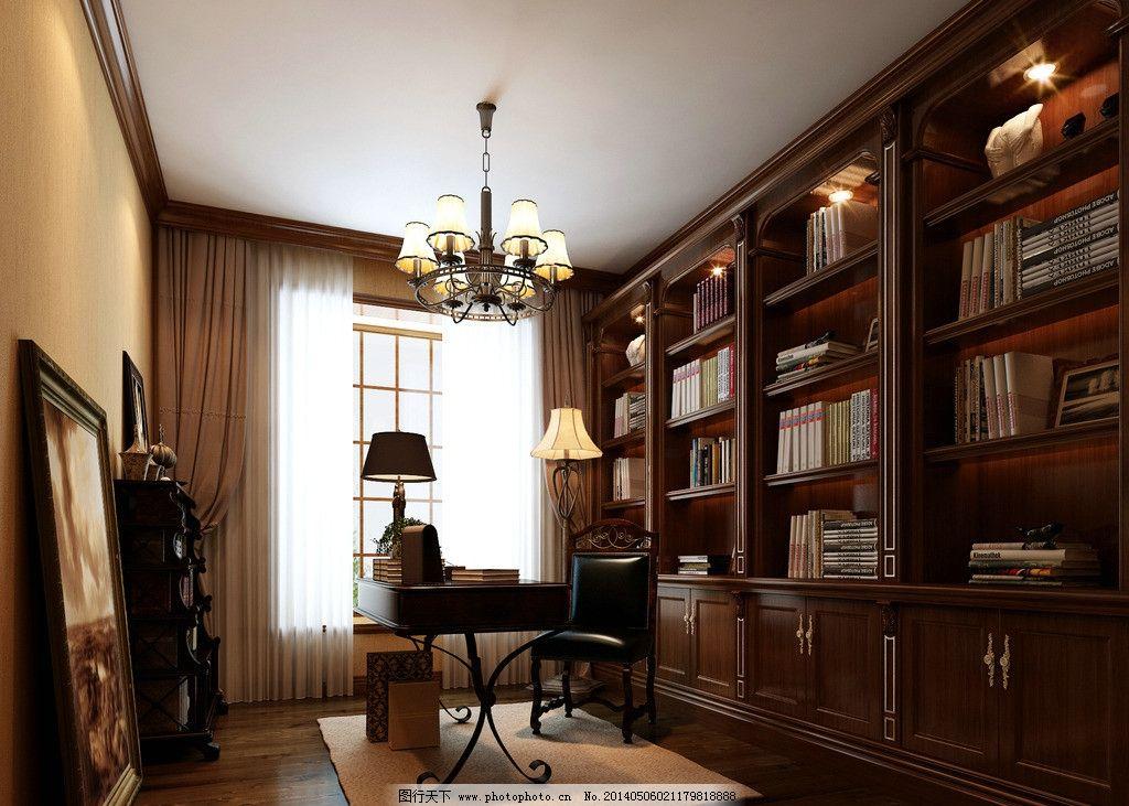书房 室内模型 装修 vray模型 建筑设计 家居 模型 室内室外全模型 3d图片