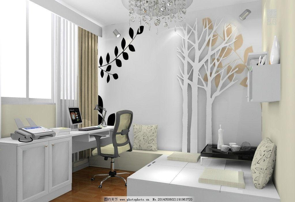 室内设计 书房 背景墙 榻榻米 书桌 座椅 吊灯 吊板 3d家装中式效果图