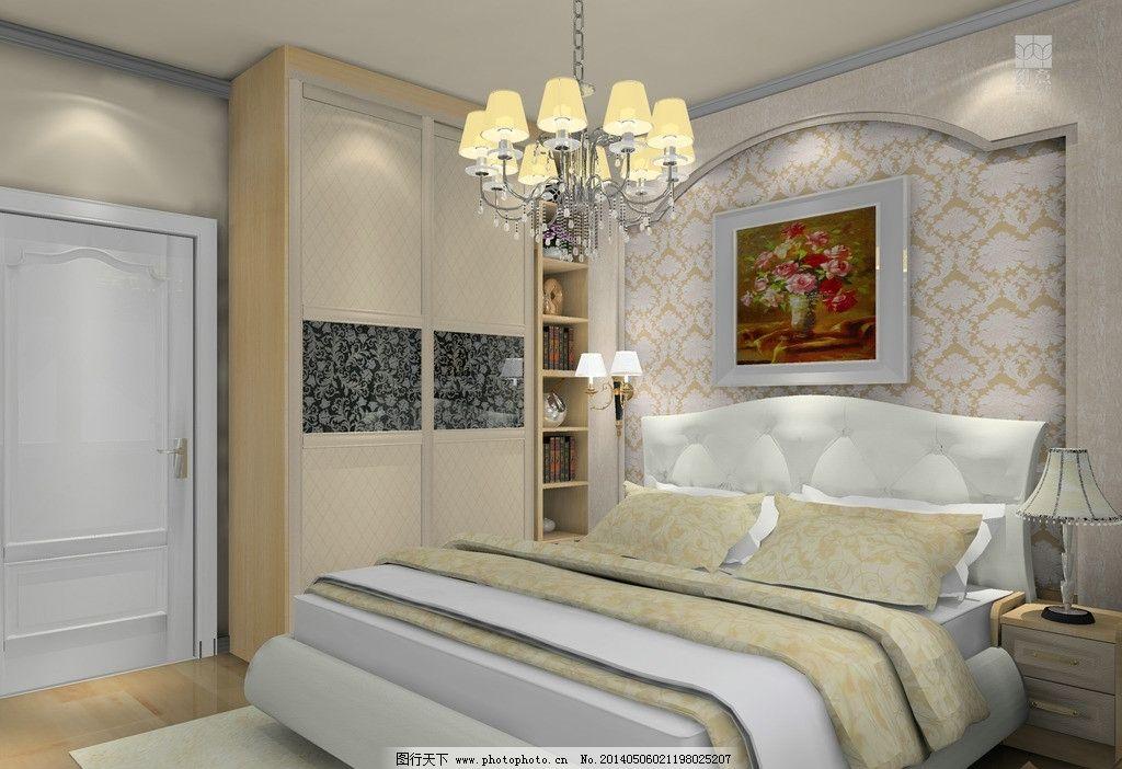 室内设计 主卧房 移门 衣柜 皮床 欧式灯 床头背景 挂画 简欧 3d家装图片