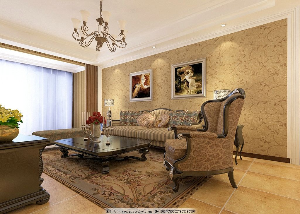 美式家装效果图 木质 黄色 地面 客厅 沙发背景墙图片