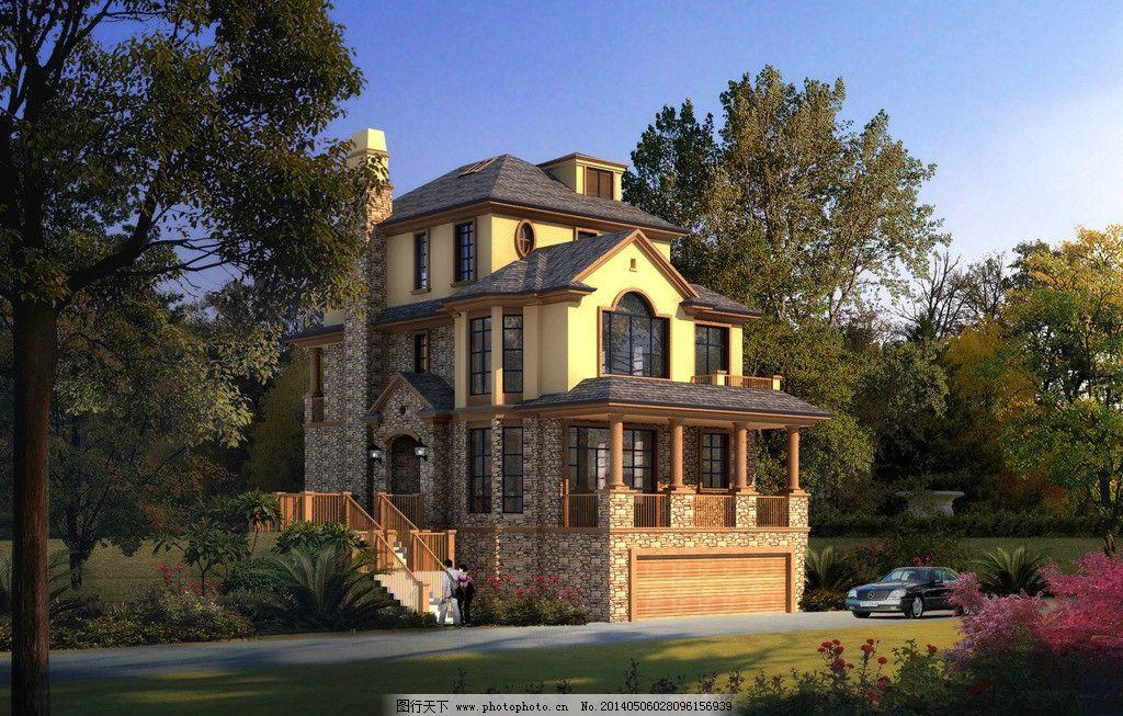 美式乡村风格别墅 美式别墅 豪宅 别院 独栋 双拼 建筑设计 环境设计图片