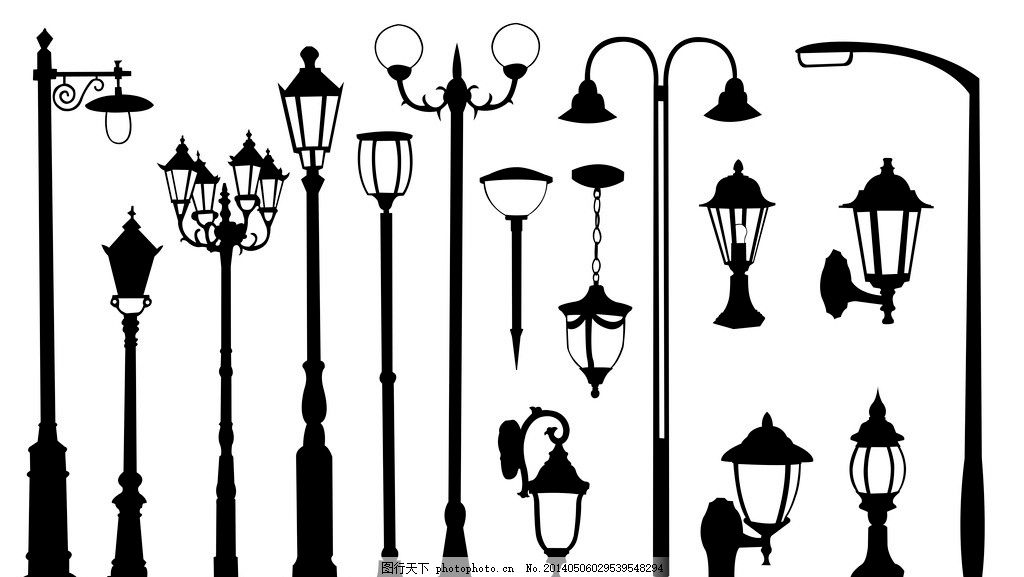 路灯 欧式路灯 街灯 马灯 铁艺 古典路灯 灯柱 广告设计矢量素材 广告