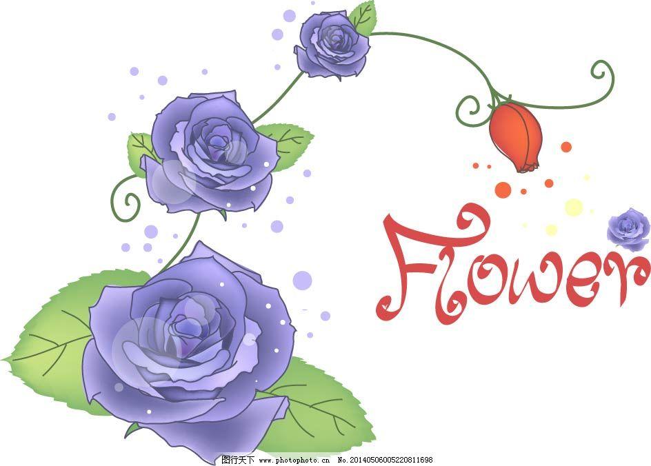 花朵 花卉 花藤 绿叶 手绘 素描 藤蔓 鲜花 植物 紫色玫瑰花 花朵