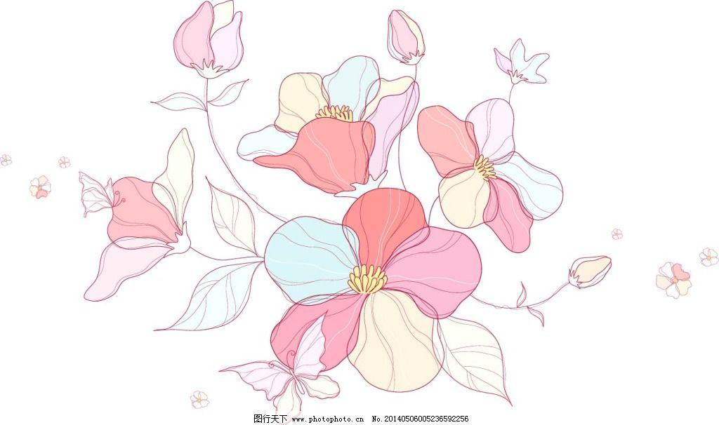 手绘素描风格花朵植物