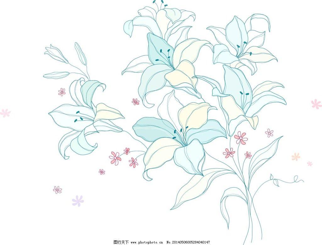 花朵简笔画 手绘百合简笔画,百合花,简笔画,素描,手绘
