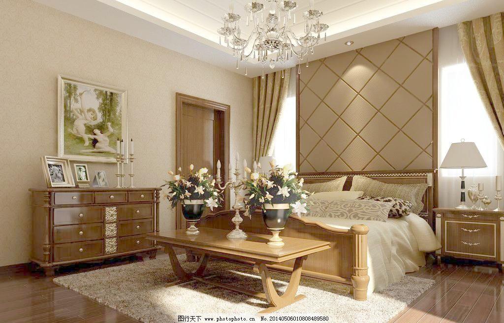 3d设计模型 max 床 家居 建筑设计 模型 欧式卧室 室内模型      源文