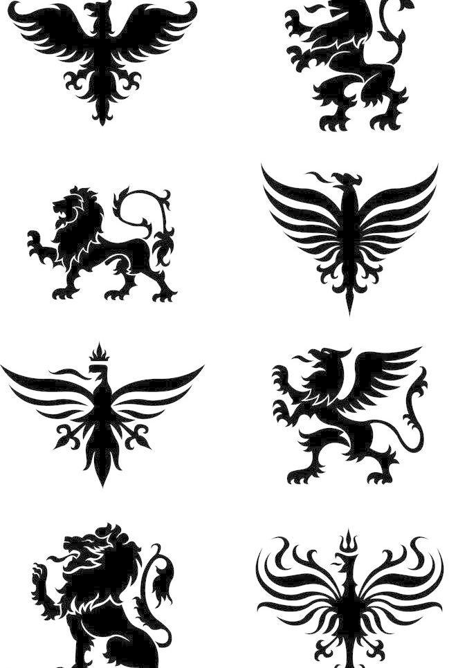 古典 图腾 龙 龙头 飞龙 飞马 野兽 猛兽 怪兽 老鹰 麒麟 狮子 吉祥