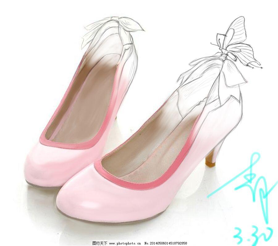 淘宝女鞋手绘主图 淘宝女鞋手绘主图免费下载 创意主图 粉色 高跟鞋
