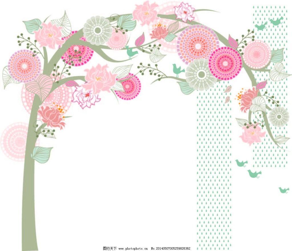 创意树 创意树免费下载 创新 大树 花朵 墙贴 矢量图 花纹花边