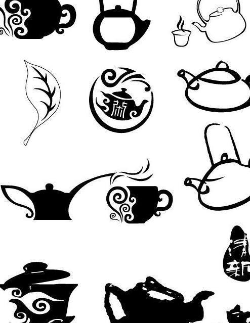 经典茶壶 茶包装 茶诗 茶素材 茶叶包装 茶韵 传统文化 黑白素材图片